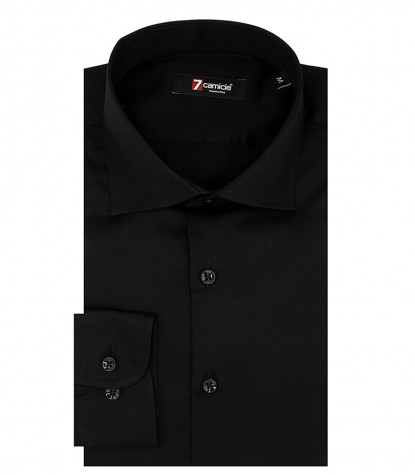 1 Button French Collar Slim Man Shirt Solid Color Satin Black