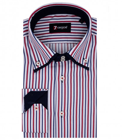 Shirt Marco Polo Satin Red Blue