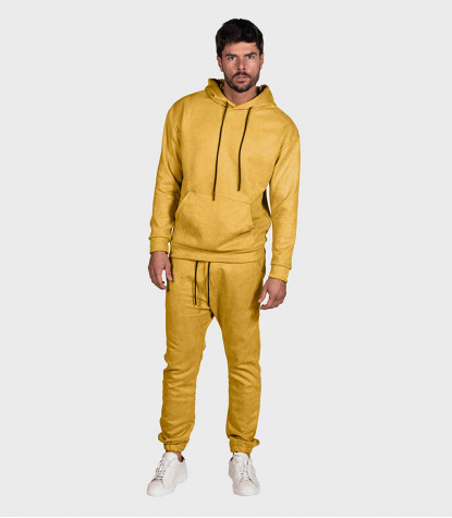 Suede Complete Tracksuit For Men Solid Yellow