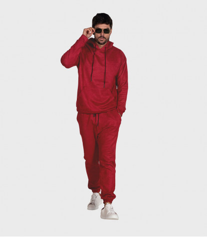 Suede Complete Tracksuit For Men Solid Red