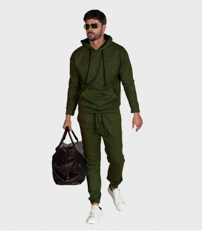 Suede Complete Tracksuit For Men Solid Green