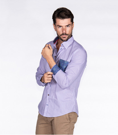 Shirt Firenze Poplin White and Orchid