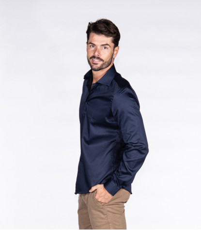 1 Button French Collar Slim Man Shirt Solid Color Satin Blue