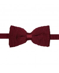 Bow Tie Roma knitted slik Red Bordeaux