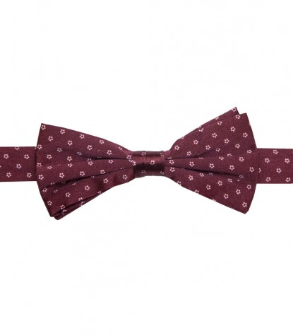 Bow Tie Roma Silk BordeauxWhite