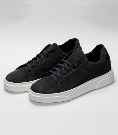 Men's Shoes Sneakers in suede Made in Italy Dark Gray