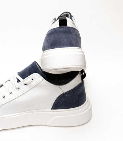 Men's Shoes Sneakers in White Leather Made in Italy with Blue Detail