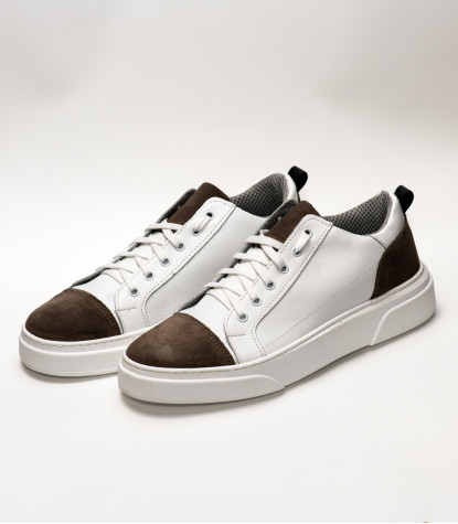 Men's Shoes Sneakers in White Leather Made in Italy with Brown Detail