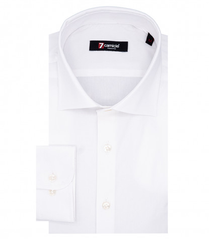 1 Button French Collar Slim Fit Shirt Popeline Stretch Plain White