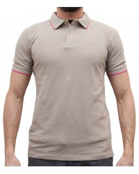 FLUORESCENT BEIGE AND PINK CAPRI POLO