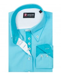Shirt Silvia poplin Melange Light Blue
