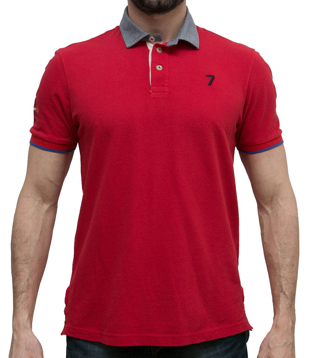 Short Sleeve Man Polo Solid Cotton Piquet Red Blue 9af9ddbc7ea2c