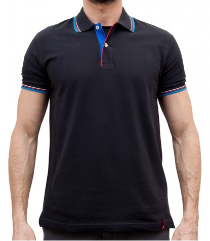 BLACK POLO FOR MEN IN PIQUé TISSUE