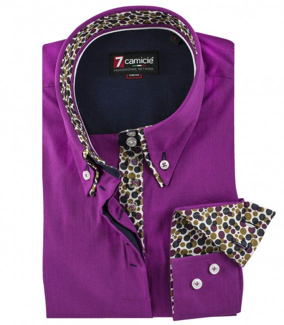 Violet shirt, bubble pattern lining, double button down collar, 7 buttons