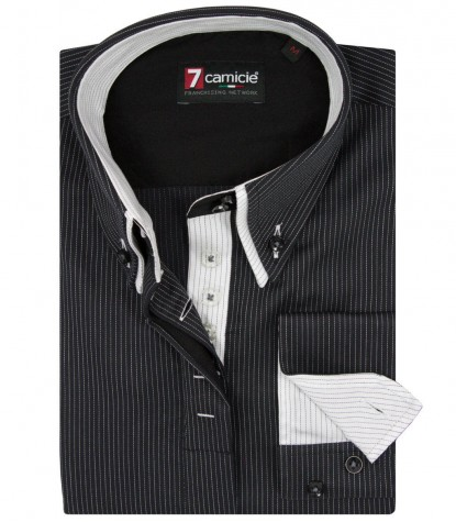 Shirt Silvia Satin BlackWhite
