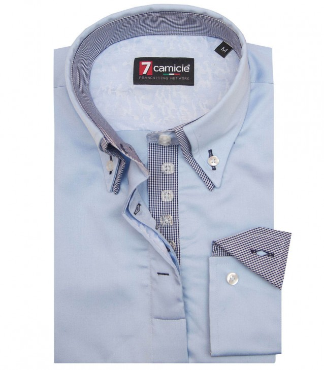 Shirt Elena Satin Light Blue
