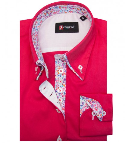 Shirt Elena stretch poplin Fuchsia