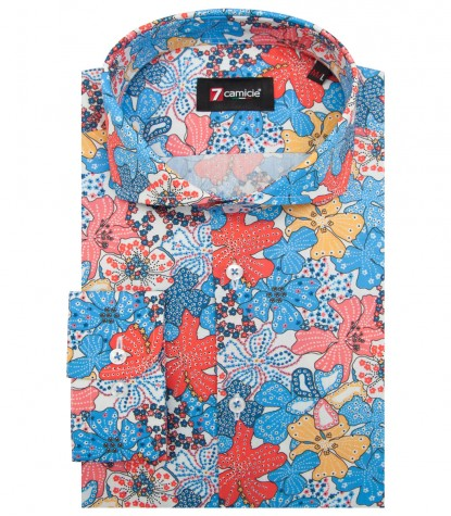 Shirt Napoli Cotton WhiteLite Blue