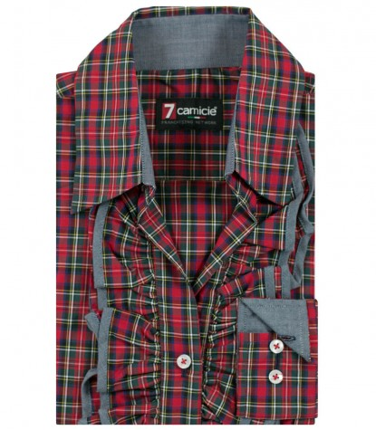 Shirt Venezia Poplin Red-Dark Green