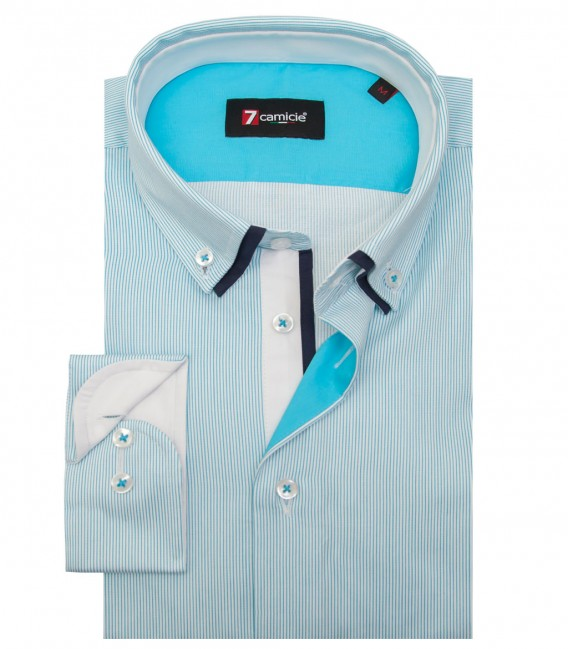 Shirt Bernini Satin WhiteTourquoise