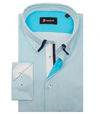 Camicia Bernini Satin Bianco e Turchese
