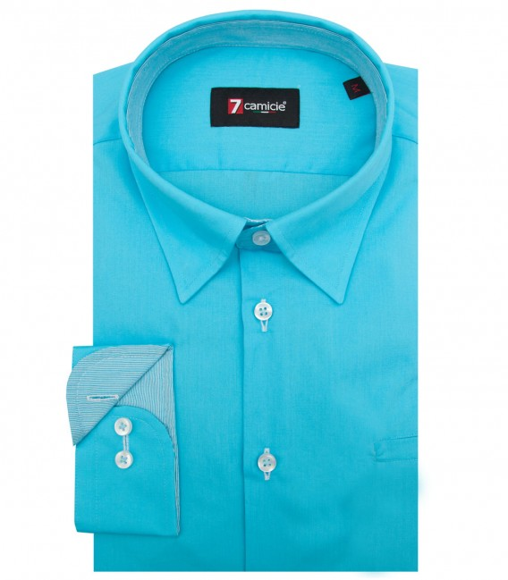 Shirt Tiziano poplin Melange Light Blue