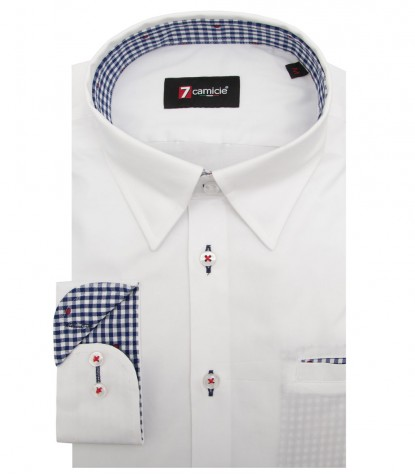 Shirt Tiziano stretch poplin White
