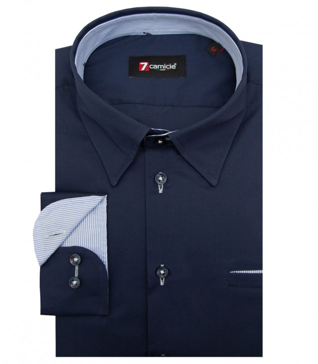 Shirt Tiziano stretch poplin Blu