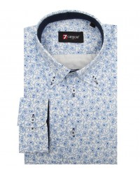 Shirt Leonardo Satin White Light Blue