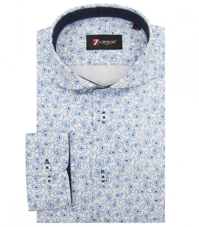 Shirt Napoli Satin White Light Blue