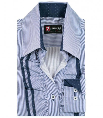 Shirt Venezia Satin BlueWhite