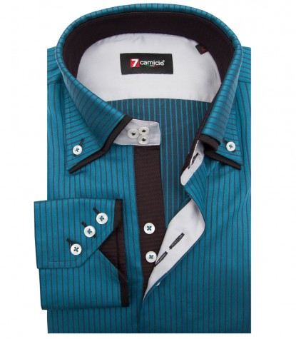 Shirt Colosseo Satin Seaport Blue Black
