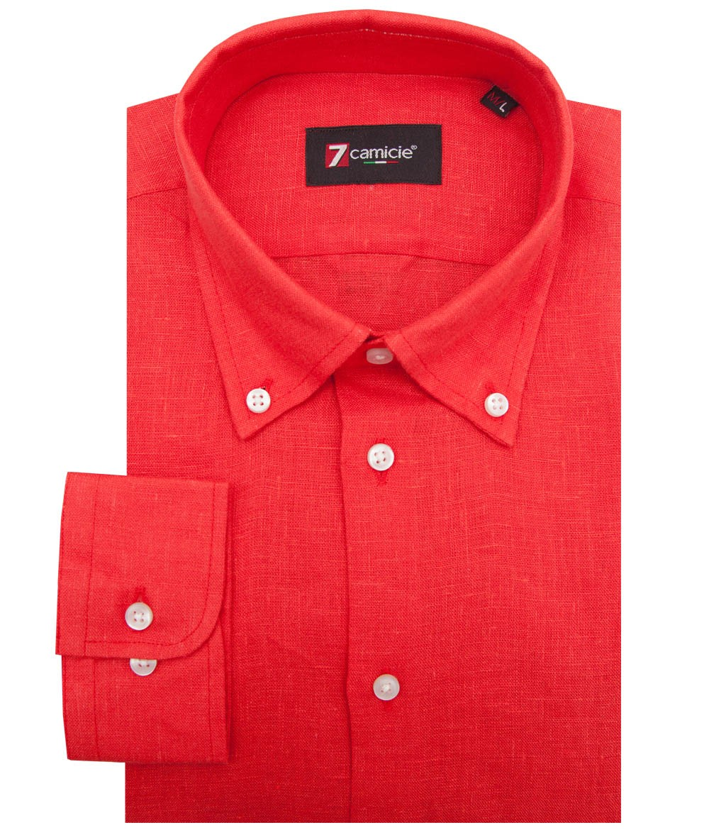 Shirt men 1 button linen full color coral for Coral shirts for guys