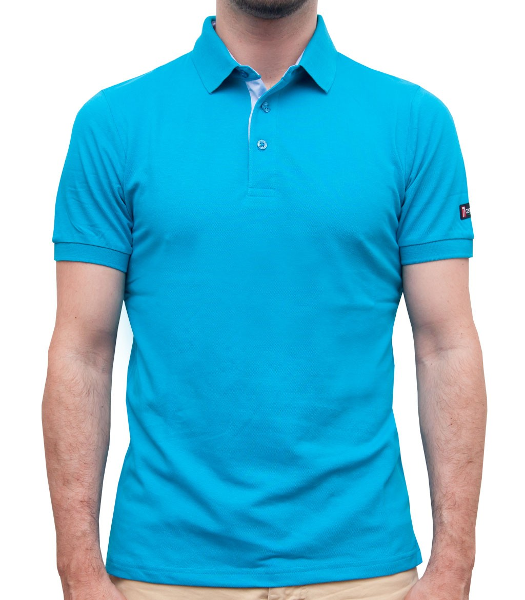 polo men short sleeve polo piquet full color turquoise. Black Bedroom Furniture Sets. Home Design Ideas