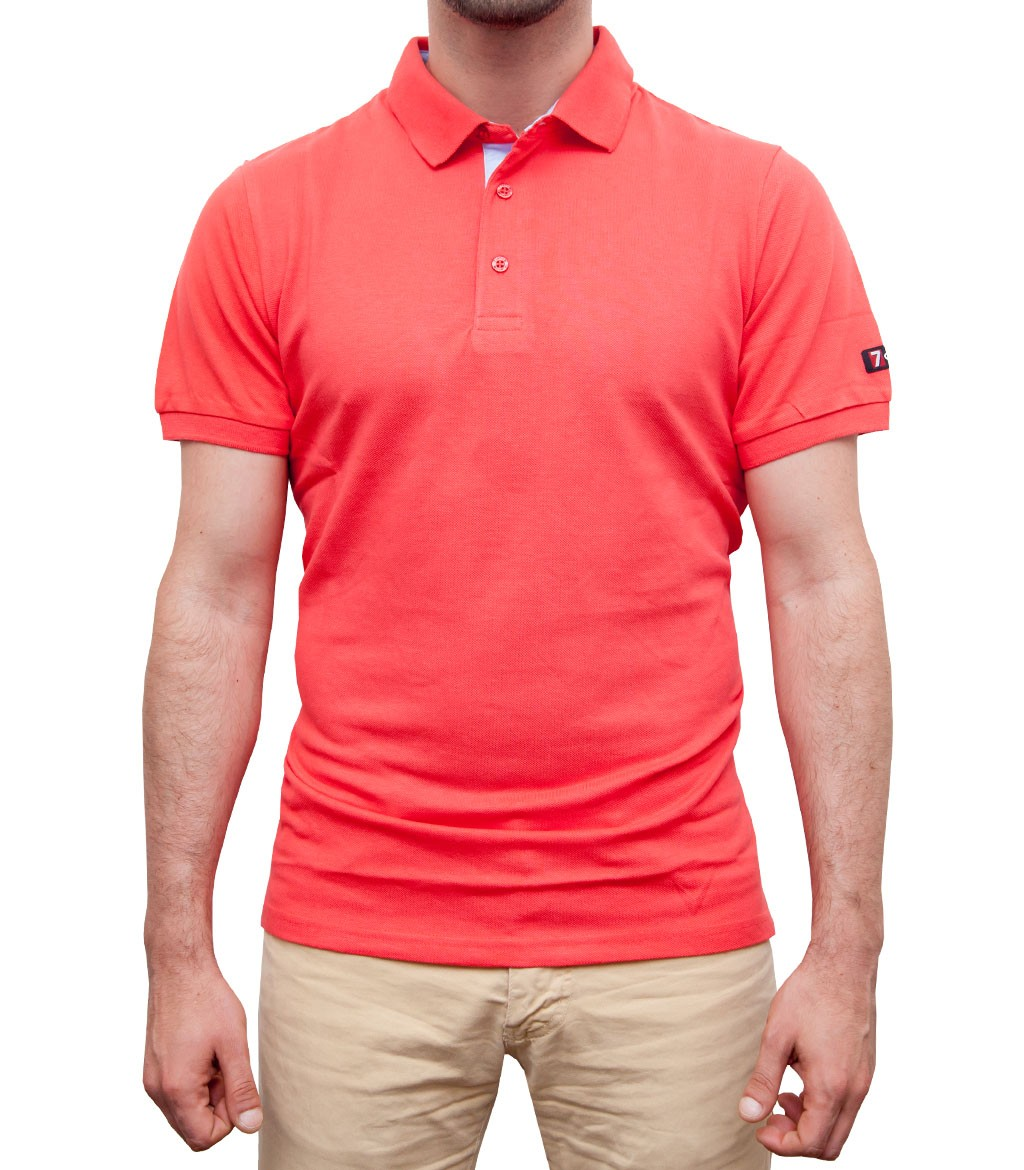 Polo men short sleeve polo piquet full color coral for Coral shirts for guys