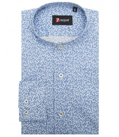 Shirt Caravaggio stretch poplin White Avion Blue