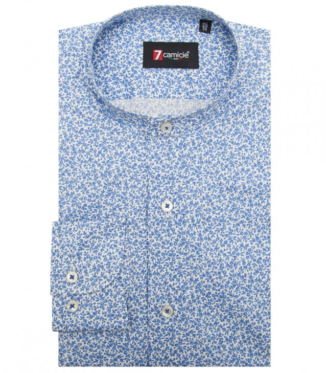 Camisas Caravaggio popelina stretch White Avion Blue