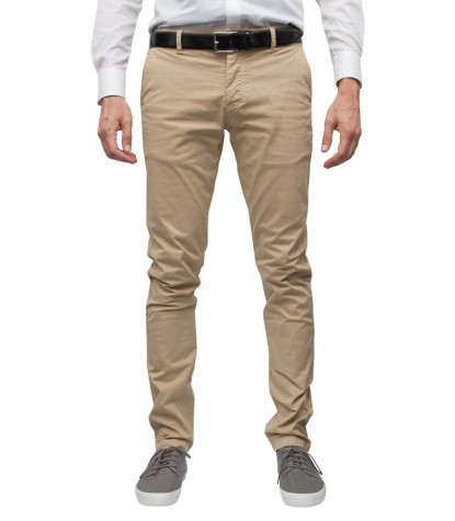 Chinos Man Trousers Cotone Twill Off White
