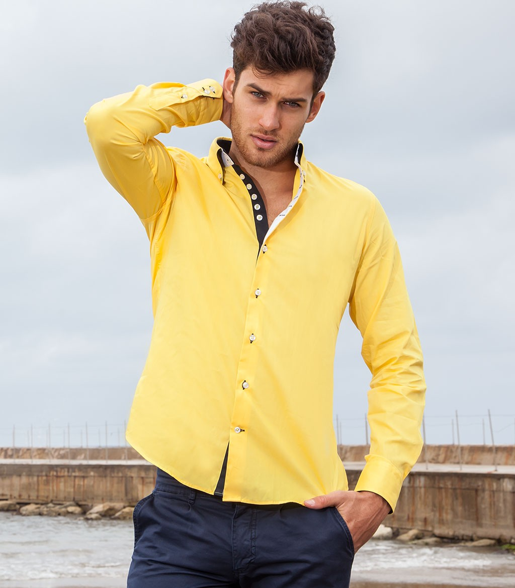 Shirt Men long sleeve 2 Button Slim poplin full color Yellow
