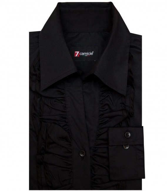Shirt Venezia stretch poplin Black