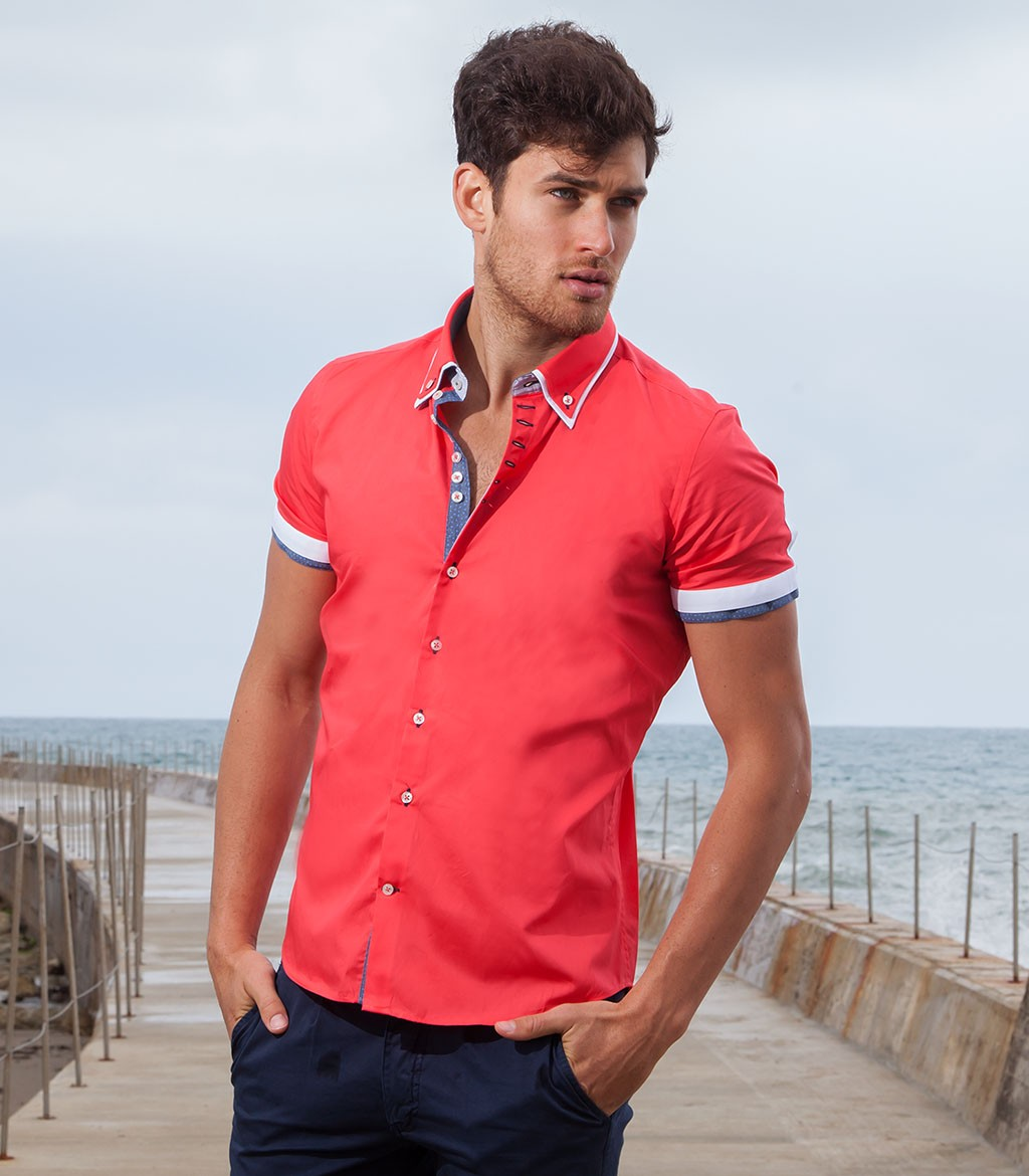 Shirt Men short sleeve 1 Button Slim poplin full color Coral
