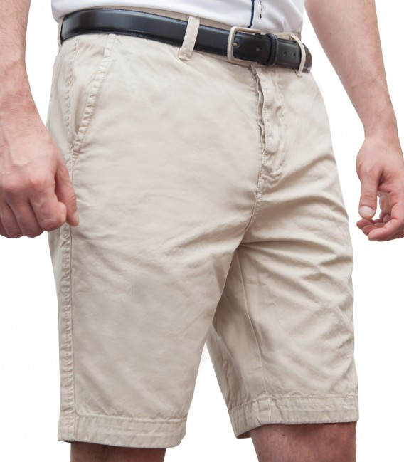 Bermuda shorts cotton plain colour beige