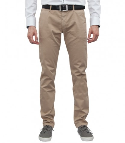 Trousers in cotton gabardine beige