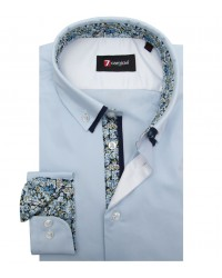Shirt Bernini stretch poplin Light Blue