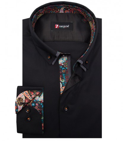 Shirt Bernini stretch poplin Black