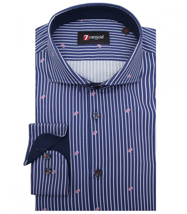 Shirt Napoli stretch poplin BlueRed