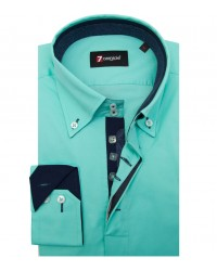 Shirt Roma stretch poplin Water Green