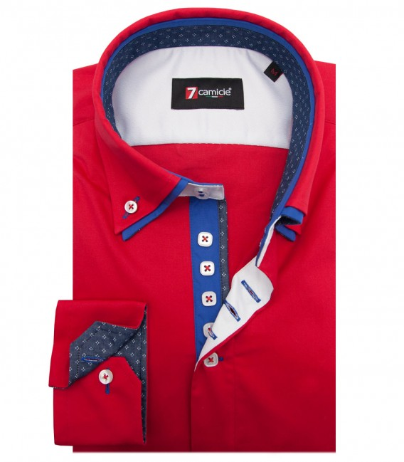 Shirt Marco Polo stretch poplin Red
