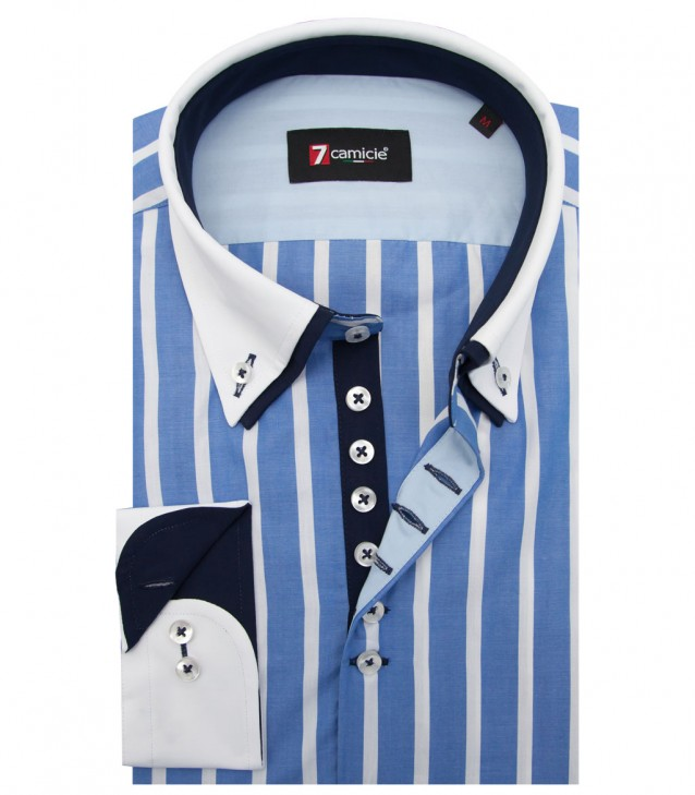 Shirt Donatello Poplin Light BlueWhite