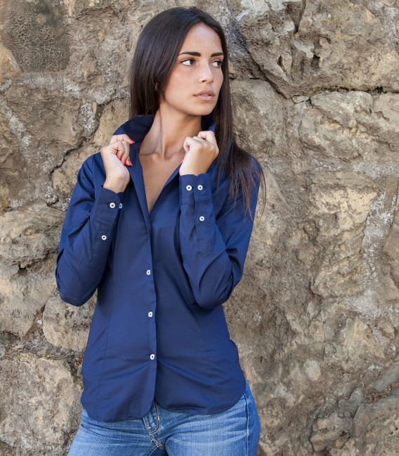 Shirt Sofia stretch poplin Blu